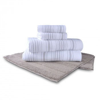 Stripe Gauze Towel & Lane Organic Bathmat Set