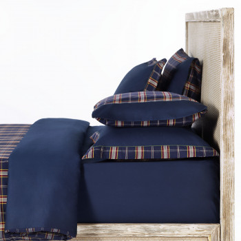 Oxford Navy Tartan Bedding Set